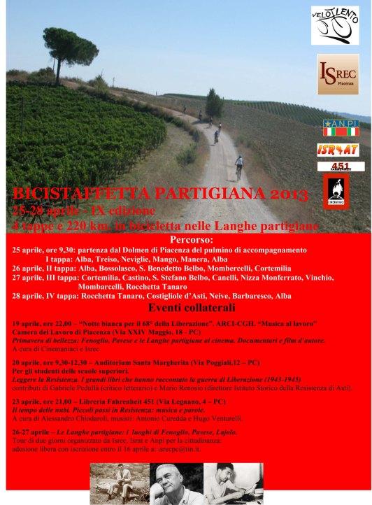 BICISTAFFETTA PARTIGIANA 2013 locandina