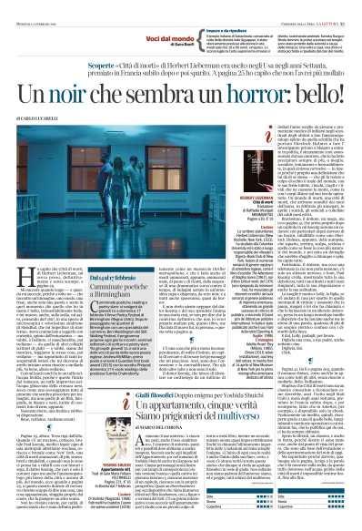 Lucarelli su La citta dei morti di Lieberman Pages from 2019-02-03 Corriere della Sera La Lettura